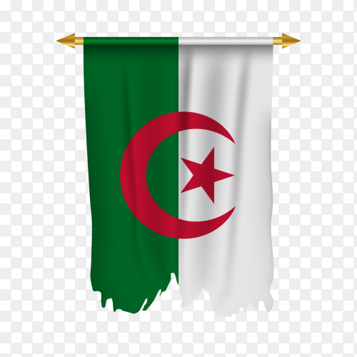 Pennant with Algeria flag premium vector PNG