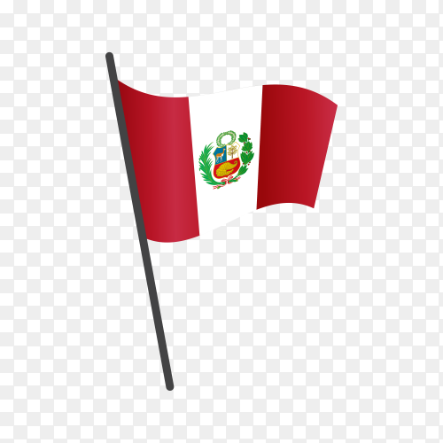 Peru flag waving on a flagpole on transparent background PNG