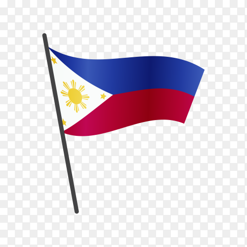 Philippines flag waving on a flagpole on transparent background PNG