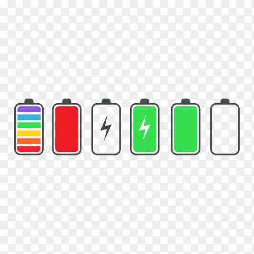 Phone battery charge status flat symbols premium vector PNG