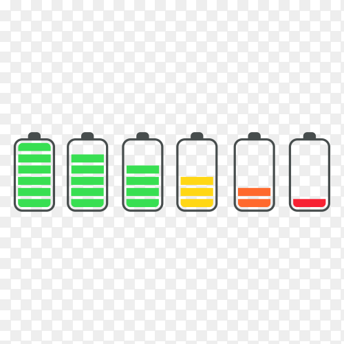 Phone battery charge status flat symbols set on transparent background PNG