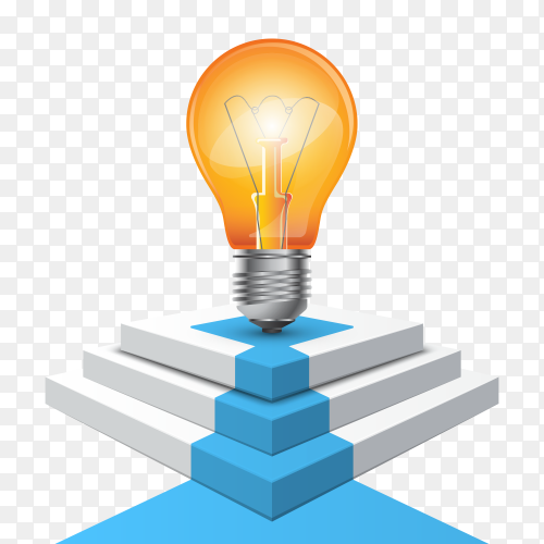 Podium, bulb for winners – business infographic on transparent background PNG