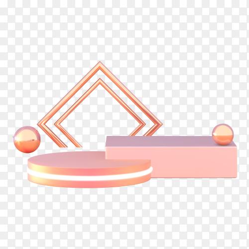 Podium, pedestal or platform in pink on transparent background PNG
