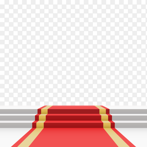 Podium with red carpet and stairson transparent background PNG