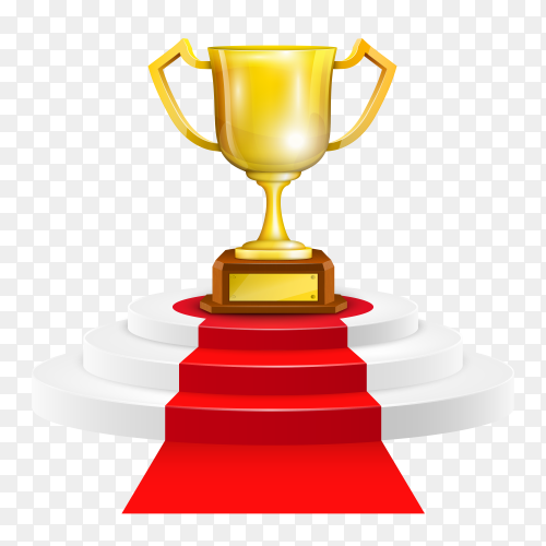 Podium with red carpet and trophy cup on transparent background PNG