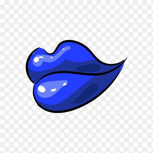 Pop art blue female lips on transparent background PNG