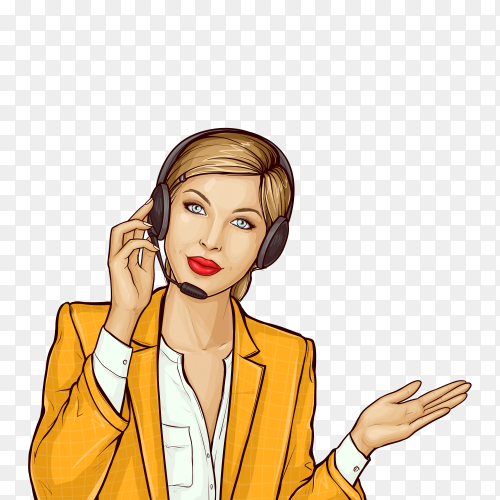 Pop art consultant of support center on transparent background PNG