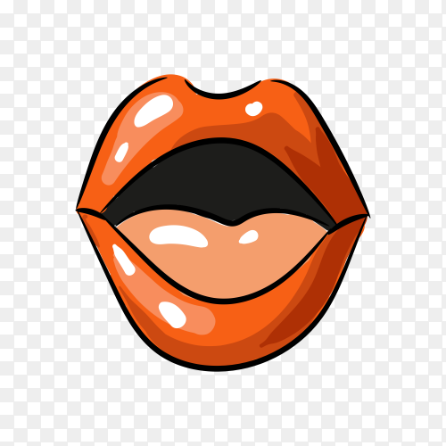 Pop art female lips on transparent background PNG
