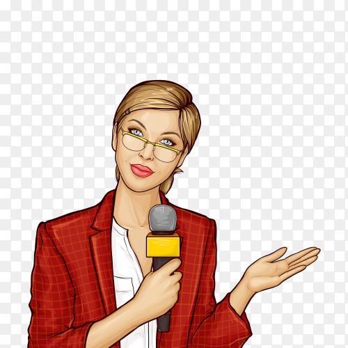 Pop art female tv reporter broadcasts live on transparent background PNG