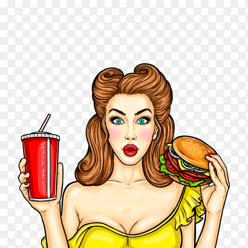 Pop art girl holding a cocktail in her hand on transparent background PNG