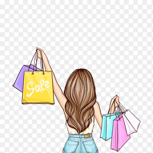 Pop art girl holding shopping bags on transparent background PNG