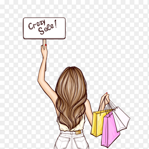 Pop art girl holds sign and shopping bags on transparent background PNG