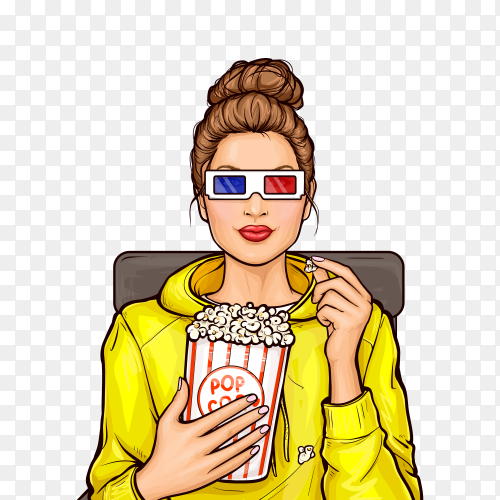 Pop art girl with popcorn watching 3d movie on transparent background PNG