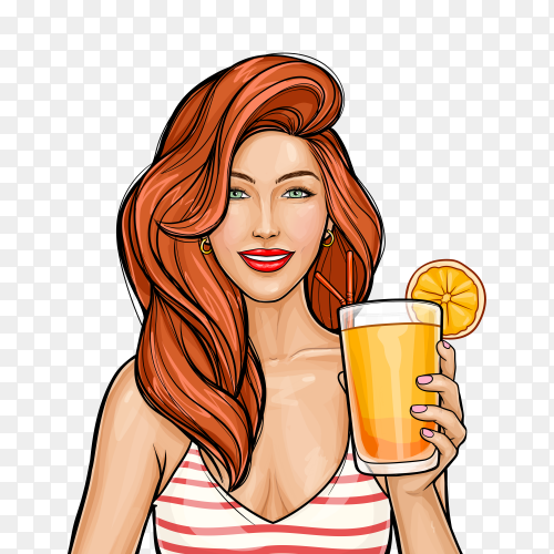 Pop art girl with red hair holding a cocktail in her hand on transparent background PNG