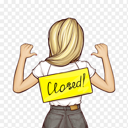 Pop art girl with signboard closed on transparent background PNG