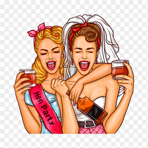 Pop art girls at a party with a glass of champagne on transparent background PNG