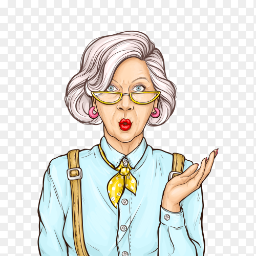 Pop art old woman surprised wow face expression on transparent background PNG