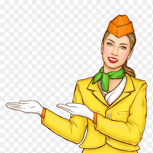 Pop art stewardess, flight attendant, air hostess on transparent background PNG
