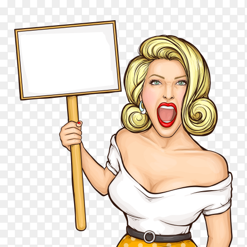 Pop art woman holding blank protest placard on transparent background PNG