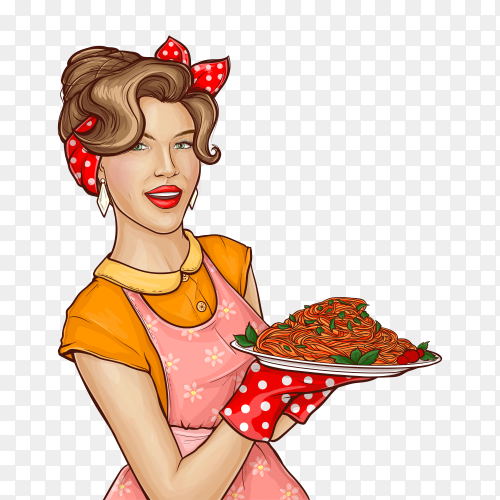 Pop art woman holding tray with pasta and sauce illustration on transparent background PNG
