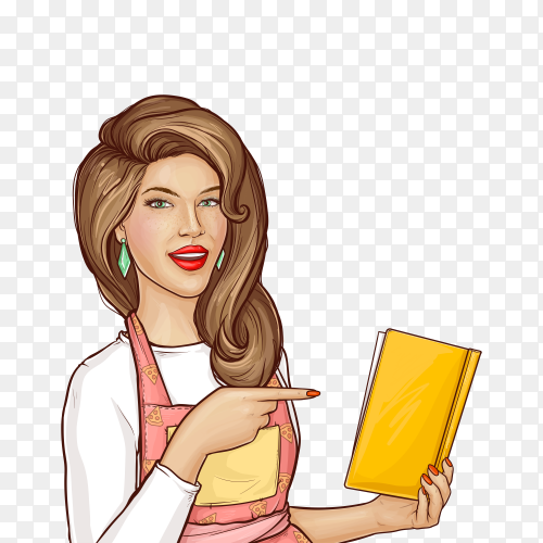 Pop art woman pointing finger into open cook book on transparent background PNG