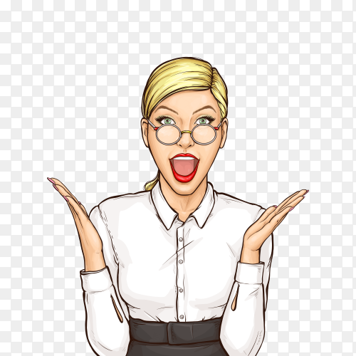 Portrait of surprised businesswoman pop art on transparent background PNG