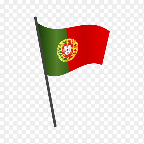 Portugal flag waving on a flagpole on transparent background PNG