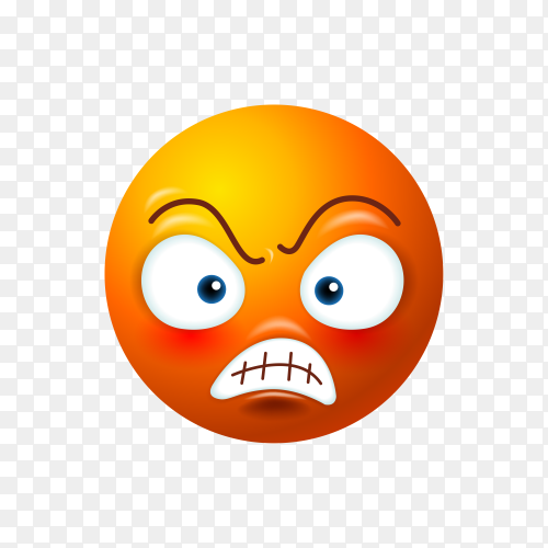 Pouting Face Emoji on transparent background PNG