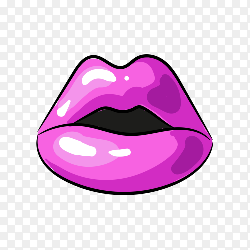 Purple female lips isolated on transparent background PNG