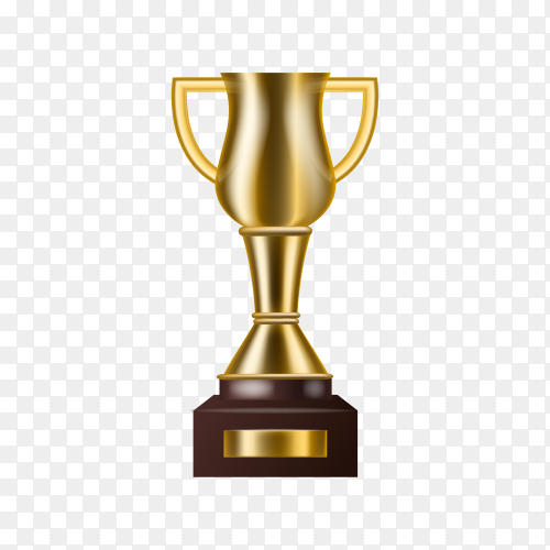 Realistic Golden Trophy with text space premium vector PNG