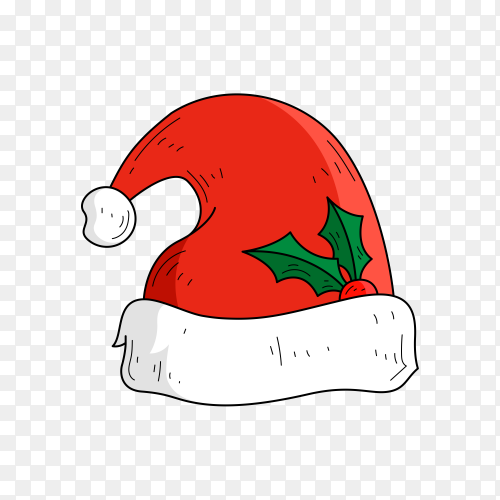Realistic Red Santa Claus hat isolated premium vector PNG