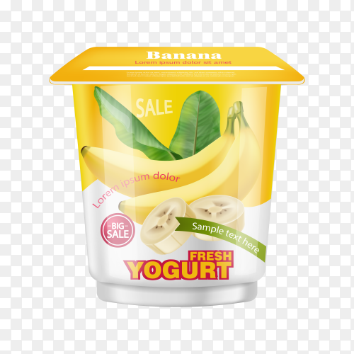 Realistic banana bunch in yogurt on transparent background PNG