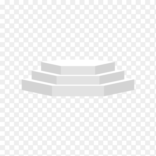 Realistic empty white podium to show product on transparent background PNG