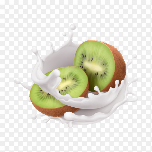 Realistic kiwi and milk splashes on transparent background PNG