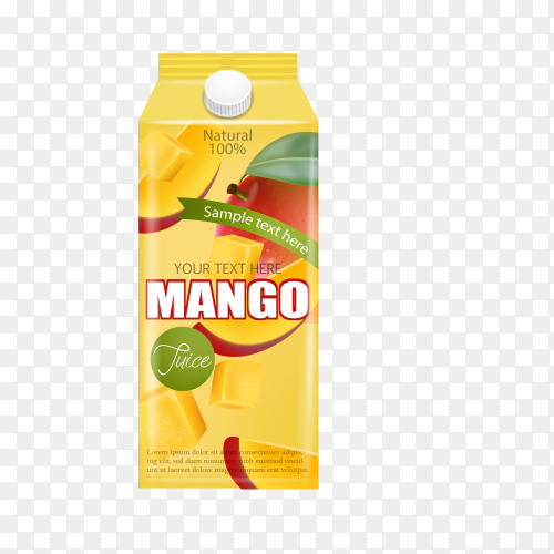 Realistic mango juice ad template on transparent background PNG