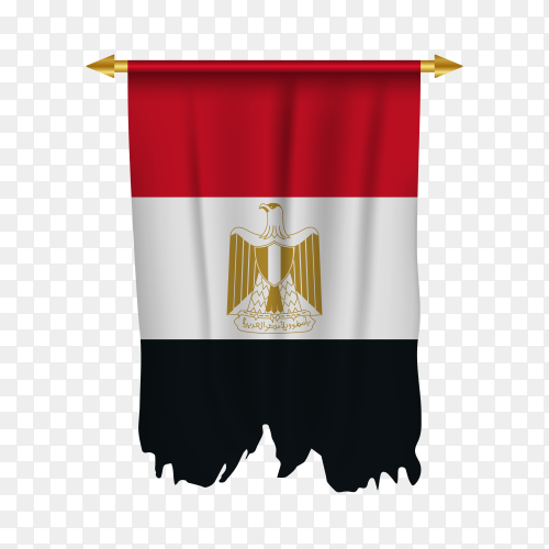 Realistic pennant flag of Egypt Clipart PNG