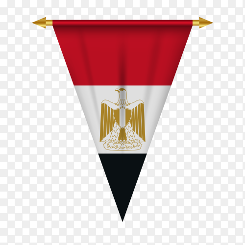 Realistic pennant flag of Egypt in flat design on transparent background PNG