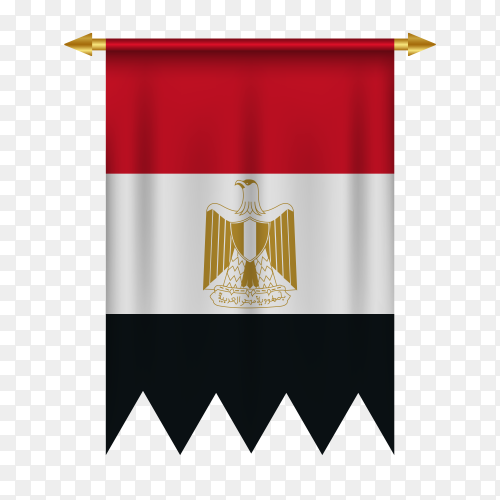 Realistic pennant flag of Egypt on transparent PNG