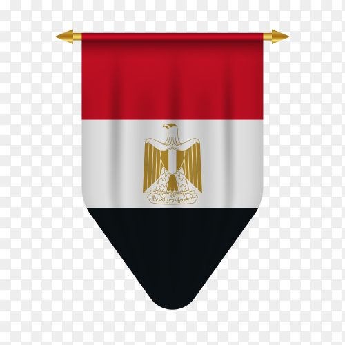 Realistic pennant flag of Egypt on transparent background PNG