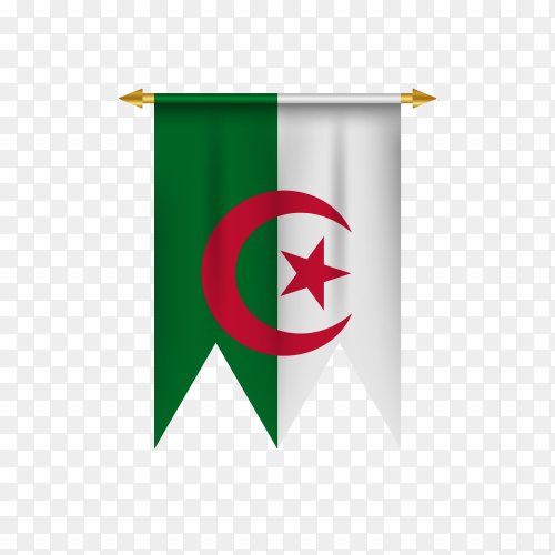 Realistic pennant with Algeria flag on transparent background PNG