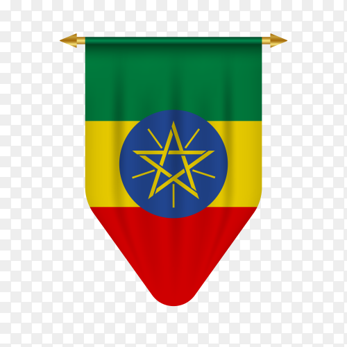 Realistic pennant with flag of Ethiopia on transparent background PNG