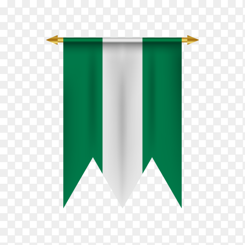 Realistic pennant with flag of Nigeria on transparent PNG