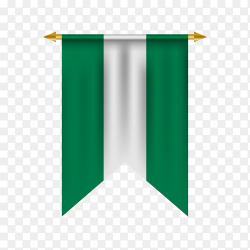 Realistic pennant with flag of Nigeria on transparent background PNG