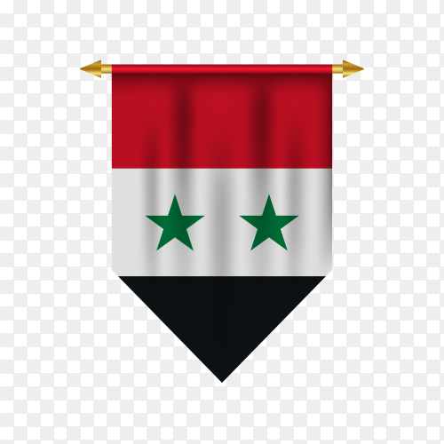 Realistic pennant with flag of Syria premium vector PNG