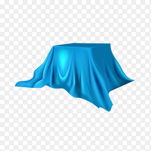 Realistic round product podium display covered with blue silk on transparent background PNG