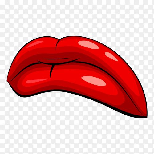 Realistic sad female lips premium vector PNG