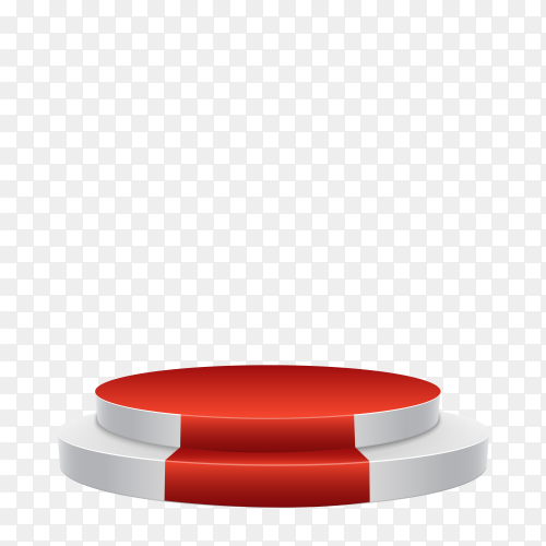 Realistic stage with red carpet in the middle of the room on transparent background PNG