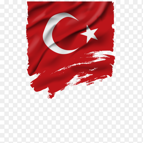 Realistic waving Turkish flag on transparent background PNG