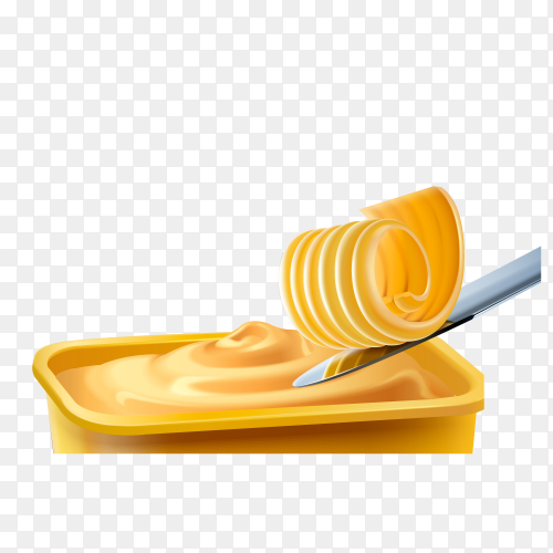 Realistic yellow butter and metal knife on transparent background PNG
