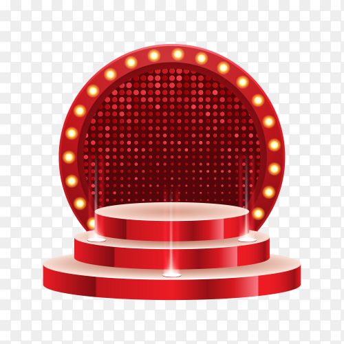 Red empty podium illuminated by searchlights illustration on transparent background PNG